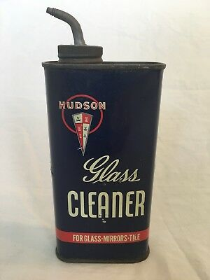 Old Antique Vintage Hudson Motor Car Co Detroit 14 Mich Usa Glass Cleaner Tin Ad