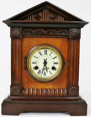 Antique German Gong Striking Carved Mahogany 8 Day Mantle Bracket Clock Junghans