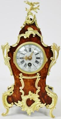 Superb Antique Miniature French Red Shell Rococo Boulle 8 Day Mantel Clock C1870