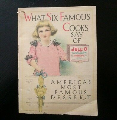 Antique ~ What Six Famous Cooks Say Of Jell-O ~ Pure Food ~ Vintage Cookbook