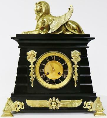 Antique French Egyptian Ormolu Bronze Sphinx Slate 8 Day Striking Mantel Clock