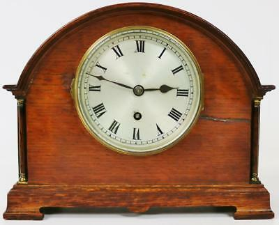 Nice Arched Top Antique 8 Day English Mahogany Coventry Mantle Bracket Clock