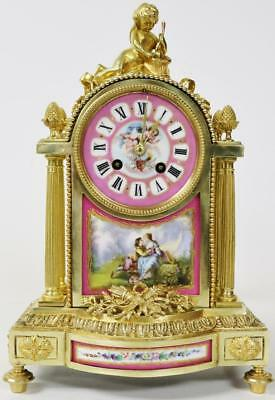 Spectacular Antique Bronze Ormolu Pink Sevres Cherub 8 Day Striking Mantel Clock