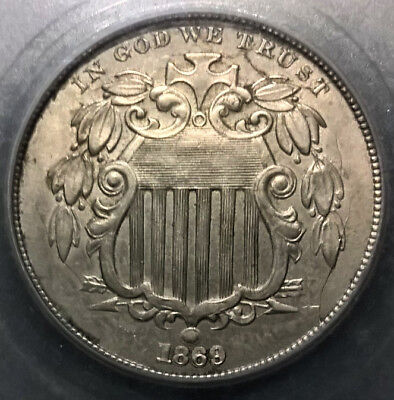 1869  Shield Nickel  strong double struck obverse  AU+++