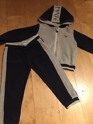 Armani Junior Designer Baby Boys 2 Piece Track Suit Outfit Set Hoodie & Trousers
