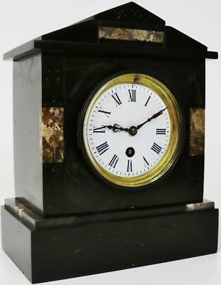 Antique Polished Slate French 8 Day Black Marble Working Mantel Desk Clock