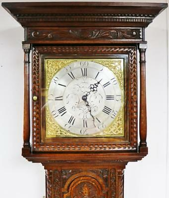 Antique English Carved Longcase Clock 8 Day Grandfather Clock Brass Dial C1790