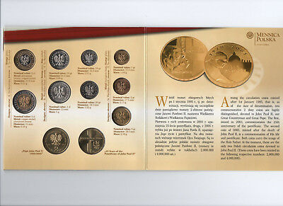 2007 Poland 11 Coin Mint Set With John Paul Ii Coins Only 2000 Sets Issued