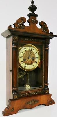 Stunning Antique American Carved Inlaid Mahogany Carved Striking Mantle Clock