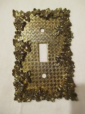 Single Toggle Light Switch Cover Vintage Brass Ornate Floral & Textured Weave