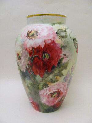 "Large 12"" Gorgeous Antique D& Co. Limoges Hand Painted Poppy Vase 1900"