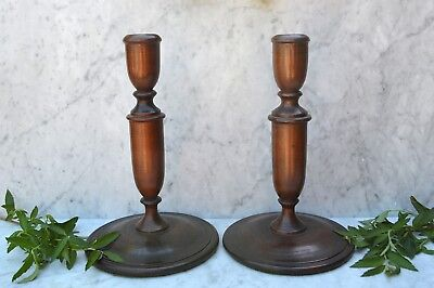 Antique Pair of English Oak Turned Wood Candlesticks Candle Holders