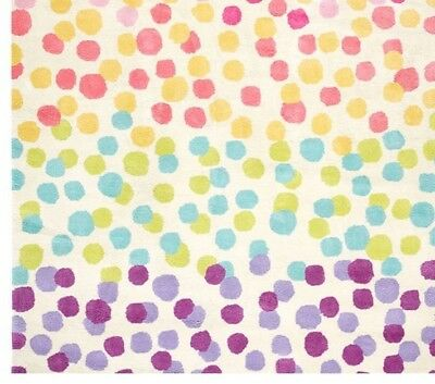 Pottery Barn Kids Rainbow Dot Rug 100% Wool 5 x 8 New Authentic Retail $399. +++
