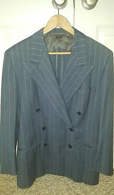 Vtg Men's 1940's Pinstriped Blue Double-breasted Suit Jacket Sz 38-40R