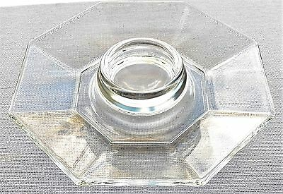 Cristal D'arque-Durand Made In France Vintage Clear Glass Octagon Egg Cup/saucer