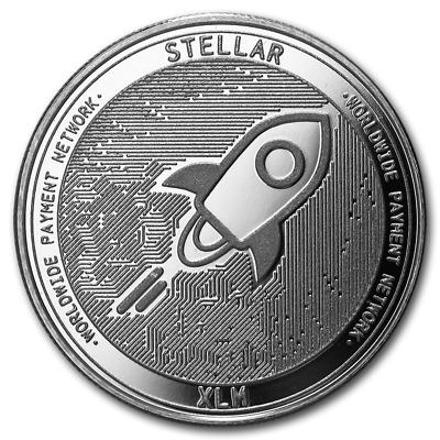 Bitcoin Cryptocurrency Stellar (XLM) - In Code We Trust 1 oz Silver BU Round
