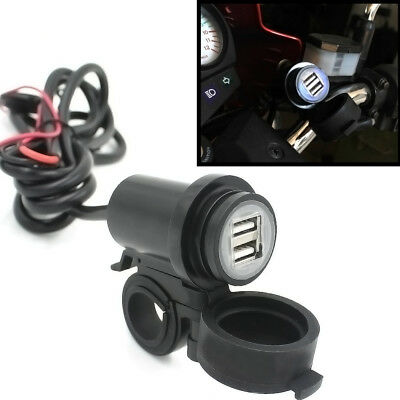 Motorcycle Dual USB Cable Charger Adapter Power Socket 3.1A For Phone Tablet GPS