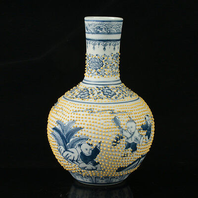China Porcelain Hand-Painted Children Vase Mark As The Qianlong Period R1048