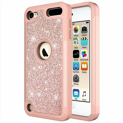 For iPod Touch 5th / 6th Gen Bling Glitter Hybrid Case Cover + Screen Protector