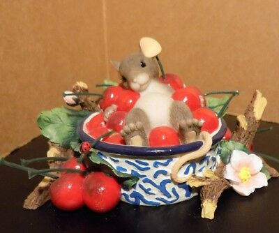 "Fitz And Floyd Charming Tails Mice Figurine "" Life Is A Bowl Full Of Cherries """