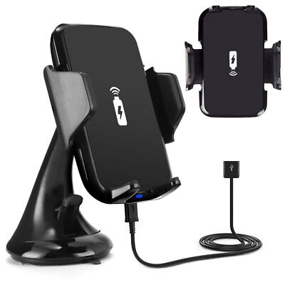 QI Wireless Car Phone Charger Mount Holder For iPhone 8 Plus X Samsung S8 S9+ S7