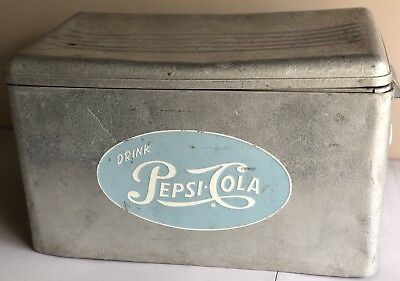 RARE ANTIQUE VINTAGE Pepsi Cola Metal Cooler Ice Box Chest Light Blue Logo