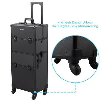 2In1 Rolling Aluminum Makeup Case Artist Lockable Cosmetic Train 4 Wheel Black