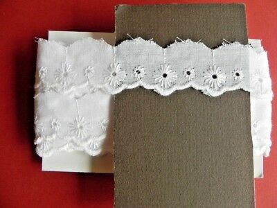 Card of New Broiderie Anglaise Lace - White