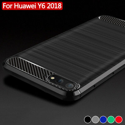 Pour Huawei Y6 2018 Coque Housse Etui Carbone Silicone Gel Case Cover