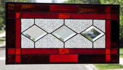 """• Splendid Red •Beveled Stained Glass Window Panel • 21 ½"""" x10 ½"""""""