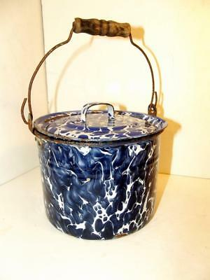Vintage Cobalt Blue & White Large Swirl Granite/Enamel Ware Covered Bucket w/Lid