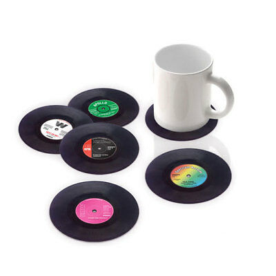 Spinning Hat 6pcs Retro Vinyl Coaster Coasters for Mug Cup Glass Beer Drinks
