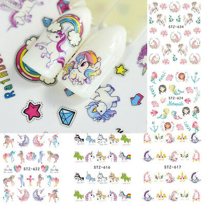 Nail Art Water Decals Stickers Transfers Unicorns Horse Mermaid 2 sheets