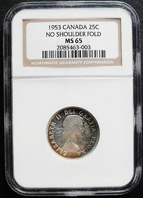 1953 Canada 25 Cents,  NGC  MS 65 , nice silver  coin , very attractive toning^