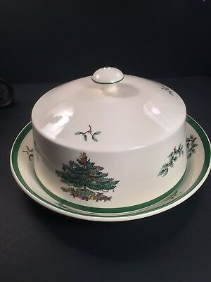 Vintage Spode Christmas Tree Round Butter Domed Cover Bowl Green Band England