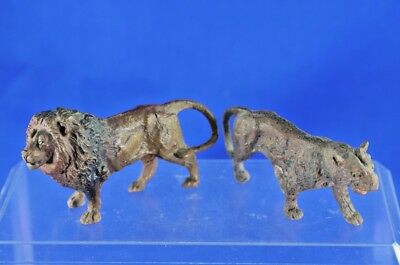 Antique Pair Of Composition Lion And Tiger Zoo Animals German Hand Painted