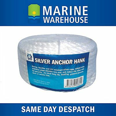 Anchor Hank 50M x 12mm - Marine Rope 50 Metres W/ Stinaless Steel Thimble 106227