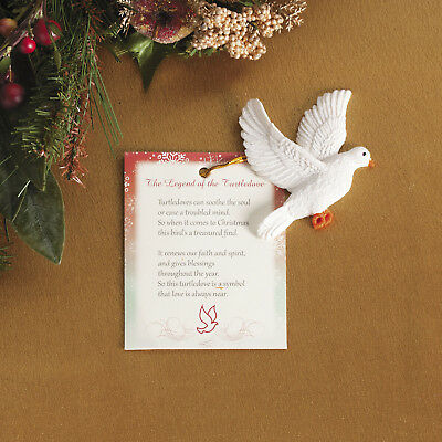 4 Resin Legend of the Turtle Dove Christmas Tree Ornaments PRESENT TAG peace