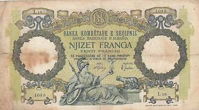 Albanien 20 Franga ND1945 - Woman with sceptre, two-headed eagle - Serial L18