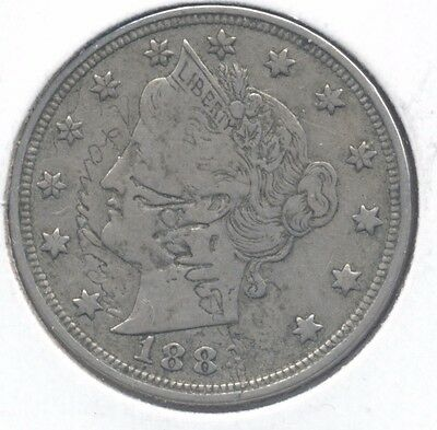 1883 nc XF Liberty V Nickel LOVE TOKEN.  'Hallie  April 1883'