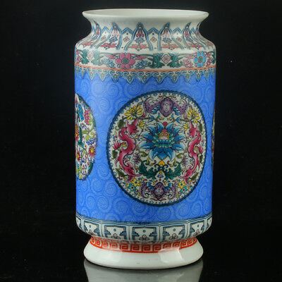 Chinese Porcelain Hand-Painted Flower Vase Mark As The Qianlong Period R1145