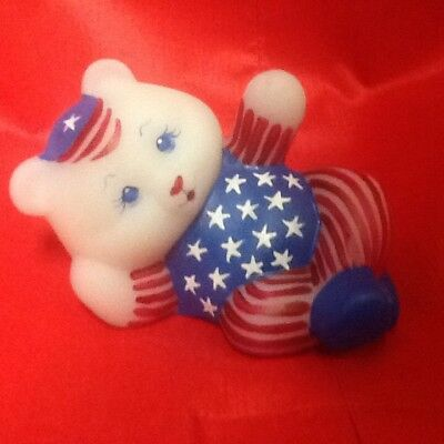 Fenton Patriotic White Opal Satin Glass Reclining Bear Limited Edition 23/24 MIB
