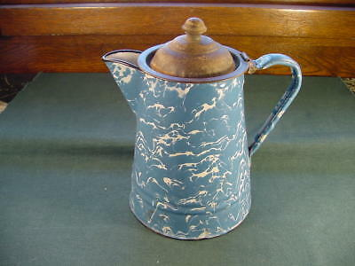 Antique Blue White Swirl Graniteware Enamelware Coffee Pot No Reserve