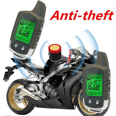 2 Way Motorcycle Alarm Immobilizer Kit Microwave Sensor LCD Pager Remote Start