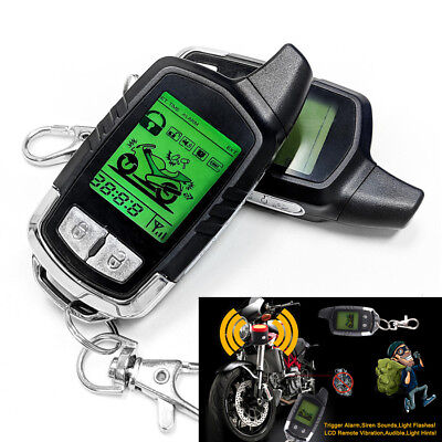 Motorcycle Alarm System 2 Way Remote Start Microwave Sensor Shock Anti-theft Kit