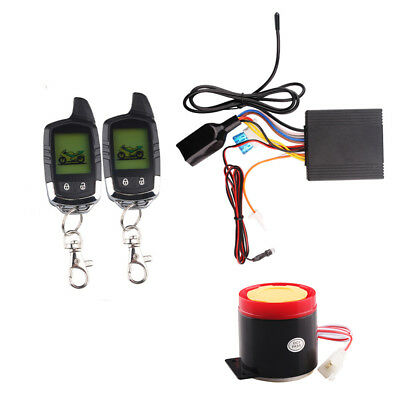 Dual Way Remote Engine Start Motorcycle Security Alarm System LCD Status FOB Kit