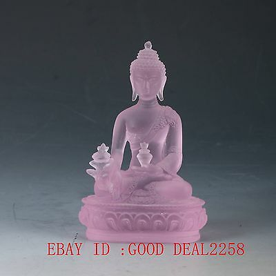 Old Chinese Handicraft Glass Pharmacists Buddha Statues (Pink) FX01
