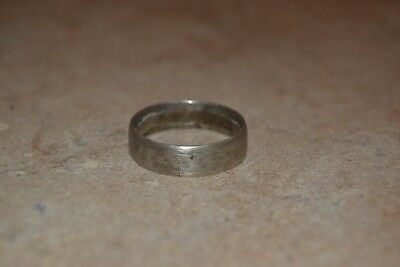 Vintage Hand Forged Silver Plain Band Ring with Hammered Marks size 14 23mm