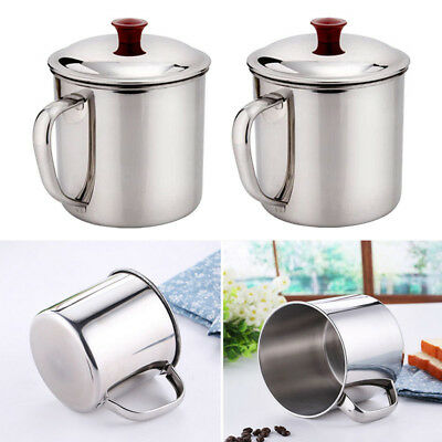 280/400ML Stainless Steel Camping Mug Cup Outdoor Drinking Coffee Tea Handle Cup