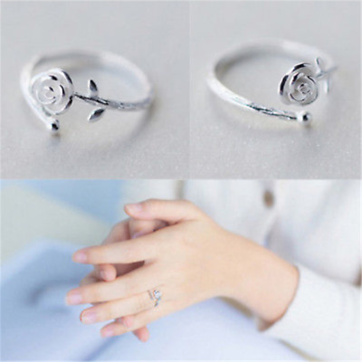 Adjustable Silver Plated Simple Ladies Girls Sliver Rose Flower Ring Band Gift